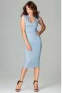 Niebieska Klasyczna Ołówkowa Sukienka Midi z Ozdobnym Dekoltem