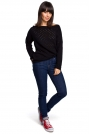 Czarny Luźny Ażurowy Sweter