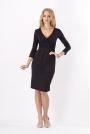 Czarna Elegancka Sukienka Midi z Kopertowym Założeniem