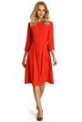 Czerwona Sukienka z Dołem w Kontrafałdy