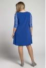 Niebieska Trapezowa Sukienka Wizytowa z Koronką PLUS SIZE