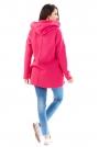 Różowa Bluza Asymetryczna z Kapturem