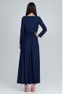 Granatowa  Zwiewna Sukienka Maxi z Podkreślona Talią