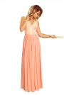 Brzoskwiniowa Wieczorowa Sukienka Maxi z Koronkową Górą bez Rękawów