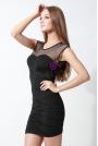 Wyjściowa Czarna Sukienka z Siateczkową Wstawką