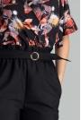 Czarne Klasyczne Spodnie Marszczone w Talii z Paskiem