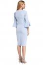 Błękitna Sukienka Ołówkowa Midi z Hiszpańskim Rękawkiem