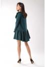 Zielona Zwiewna Krótka Sukienka z Falbankami