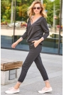 Grafitowy Dresowy Komplet Bluza + Spodnie
