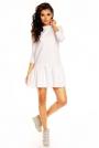 Biała Sportowa Sukienka Mini z Falbanką
