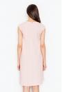Jasno różowa Rozkloszowana Asymetryczna Sukienka z Półrękawkiem