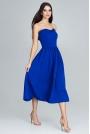 Niebieska Wieczorowa Midi Sukienka Gorsetowa z Falbankami