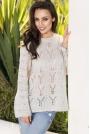 Jasnoszary Sweterek Oversize Luźny Ażurowy