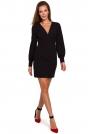 Sukienka z Długim Bufiastym Rękawem - Czarna