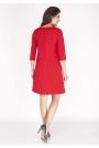 Czerwona Sukienka w Serek z Kontrafałdą