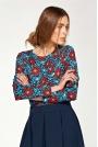 Kwiatowa Elegancka Wyjściowa Bluzka z Draperiami