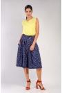 Granatowe Spódnico-Spodnie z Asymetrycznym Zapięciem