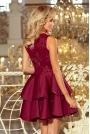 Bordowa Wieczorowa Rozkloszowana Sukienka z Koronką
