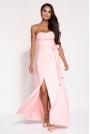 Różowa Wieczorowa Maxi Sukienka z Odkrytymi Ramionami