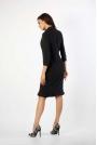Czarna Ołówkowa Sukienka z Ciekawym Dołem