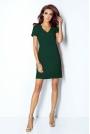 Zielona Sukienka Trapezowa Mini z Dekoltem V