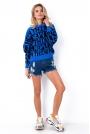 Niebieski Nietoperzowy Sweter z Napisami  NEW THING.