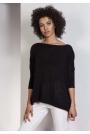 Czarny Oversizowy Sweter z Metaliczną Nitką