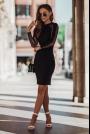 Sukienka z Szyfonową Wstawką na Rękawach - Czarna