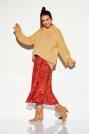 Zwiewna Midi Spódnica we Wzory Druk 1
