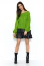 Oversizowy Zielony Sweter z Ażurowym Rękawem