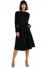 Czarna Rozkloszowana Dzianinowa Sukienka z Gumką w Tali
