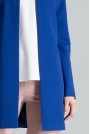 Niebieski Pudełkowy Kobiecy Płaszcz bez Zapięcia