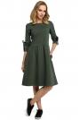 Zielona Klasyczna Rozkloszowana Sukienka z Lampasem