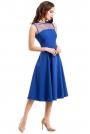 Chabrowa Sukienka Midi z Transparentnym Karczkiem bez Rękawów
