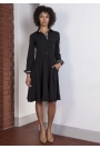 Czarna Sukienka Szmizjerka z Długim Rękawem