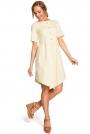 Żółta Rozkloszowana Asymetryczna Sukienka z Ozdobnymi Guzikami