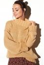 Kamelowy Oversizowy Ciepły Sweter z Półgolfem
