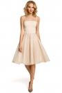Beżowa Wieczorowa Sukienka z Prześwitującym Modnie Karczkiem