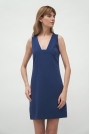 Mini Sukienka bez Rękawów - Kobaltowa