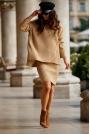 Komplet - Sweter z Golfem i Dopasowana Spódnica - Kamelowy