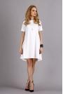 Biała Trapezowa Wygodna Sukienka z Krótkim Rękawem