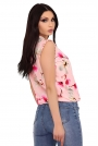 Różowa Letnia Bluzka z Kwiatowym Motywem z Falbankami