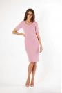 Jasnoróżowa Klasyczna Ołówkowa Sukienka Open Shoulder