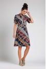 Granatowa Rozkloszowana Wizytowa Sukienka z Wiązaniem przy Dekolcie