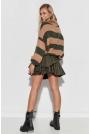 Rozkloszowana Spódnica ze Sztucznej Skóry - Khaki