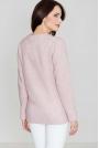 Różowy Swobodny Sweter z Asymetrycznym Dołem