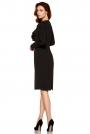 Czarna Elegancka Wizytowa Sukienka z Żabotem