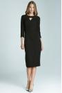 Czarna Wizytowa Sukienka Midi z Pęknięciem przy Dekolcie