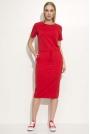 Czerwona Prosta Dzianinowa Sukienka Midi Wiązana w Pasie
