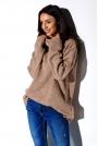 Kamelowy Oversziowy Sweter z Golfem